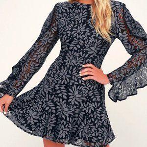 Keepsake Engage Navy Blue Lace Long Sleeve Dress